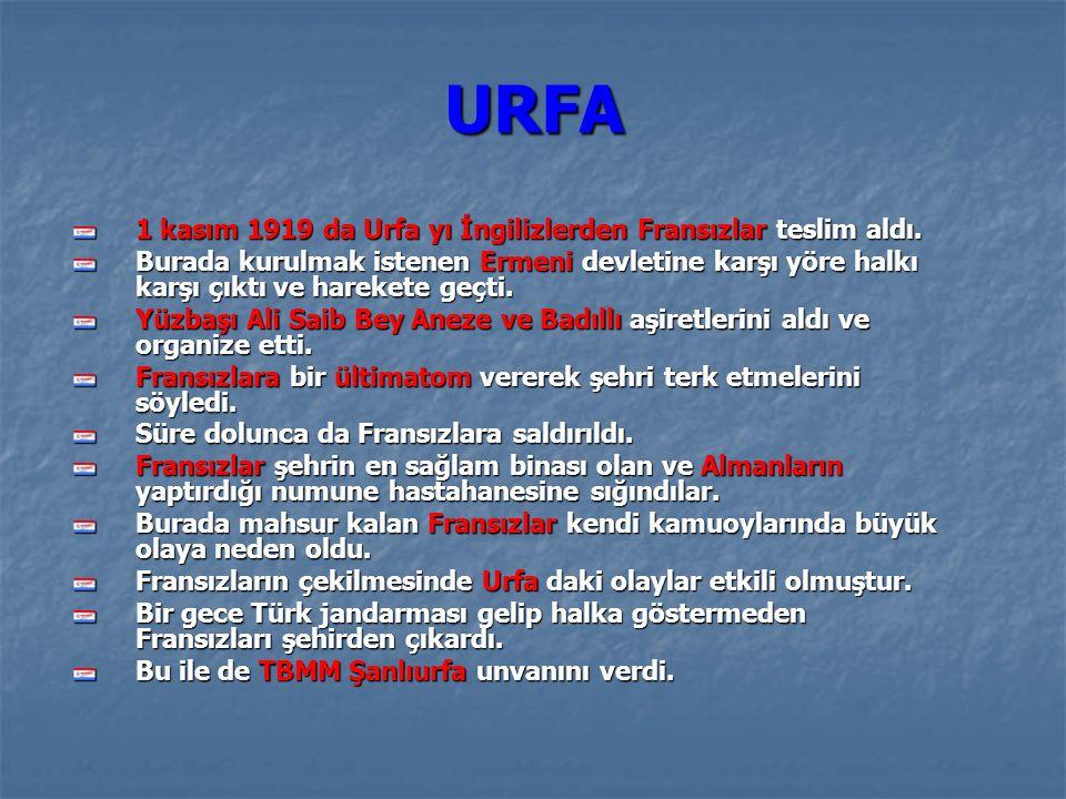 URFA URFA 1 kasım 1919 da Urfa yı İngilizlerden Fransızlar teslim aldı.