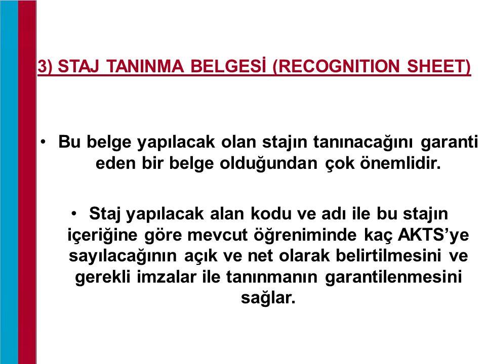 3) STAJ TANINMA BELGESİ (RECOGNITION SHEET) Bu belge yapılacak olan stajın tanınacağını garanti eden bir belge olduğundan çok önemlidir. Staj yapılaca