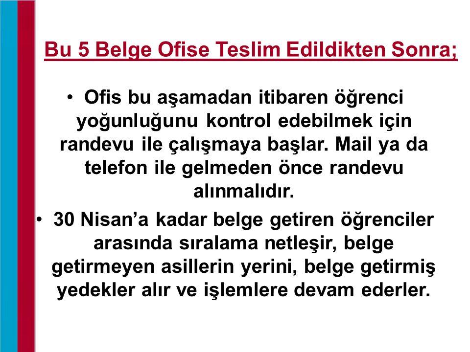 Bu 5 Belge Ofise Teslim Edildikten Sonra; Ofis bu aşamadan itibaren öğrenci yoğunluğunu kontrol edebilmek için randevu ile çalışmaya başlar.