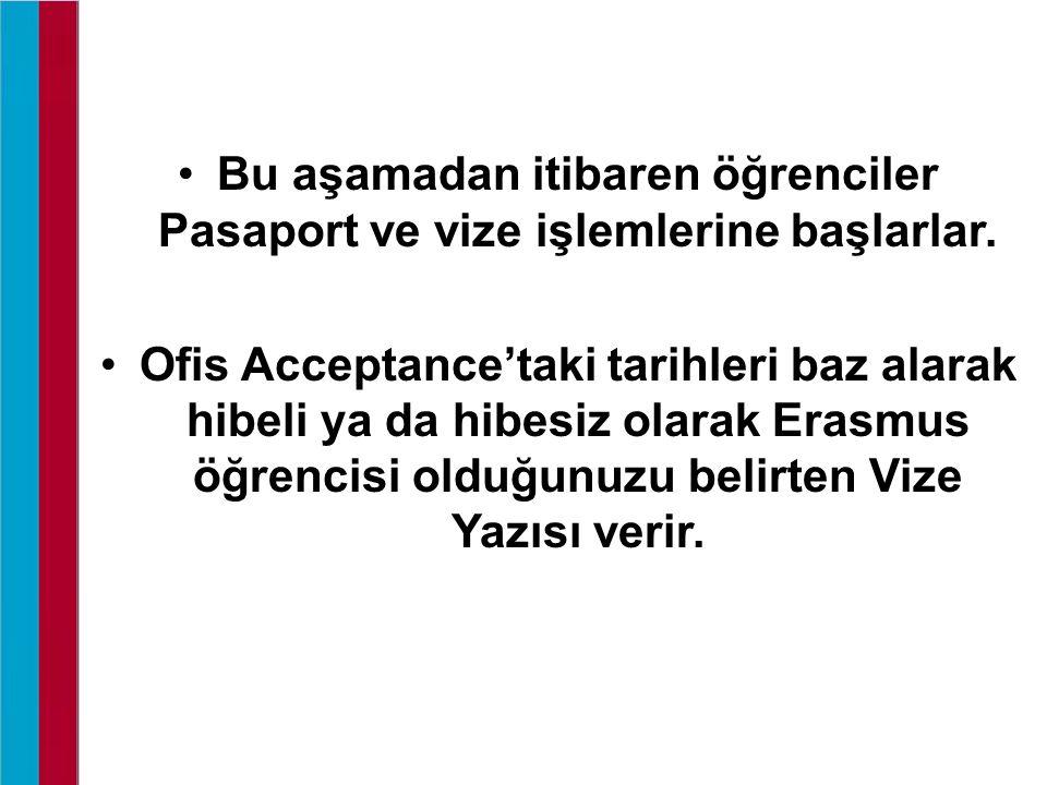 Bu aşamadan itibaren öğrenciler Pasaport ve vize işlemlerine başlarlar. Ofis Acceptance'taki tarihleri baz alarak hibeli ya da hibesiz olarak Erasmus