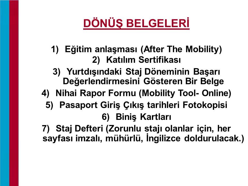 DÖNÜŞ BELGELERİ 1)Eğitim anlaşması (After The Mobility) 2)Katılım Sertifikası 3)Yurtdışındaki Staj Döneminin Başarı Değerlendirmesini Gösteren Bir Bel