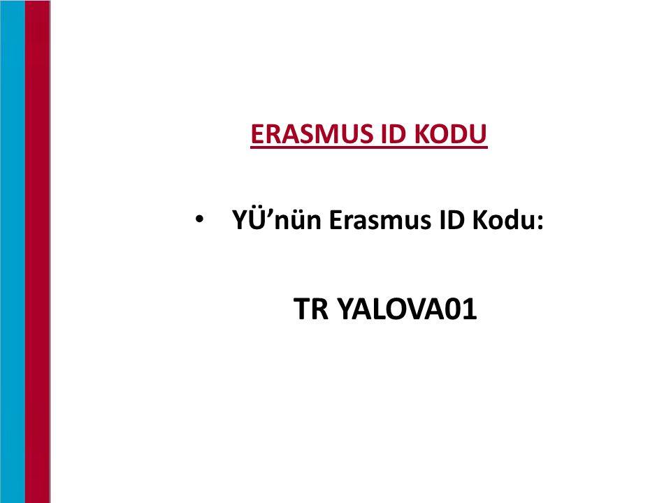 ERASMUS ID KODU YÜ'nün Erasmus ID Kodu: TR YALOVA01 ERASMUS STAJ ORYANTASYONU / 24.03.2015