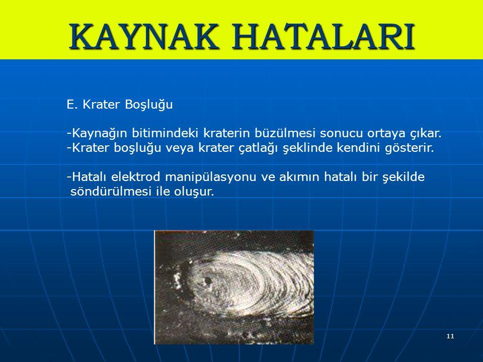 11 KAYNAK HATALARI E. Krater Boşluğu -Kaynağın bitimindeki kraterin büzülmesi sonucu ortaya çıkar.