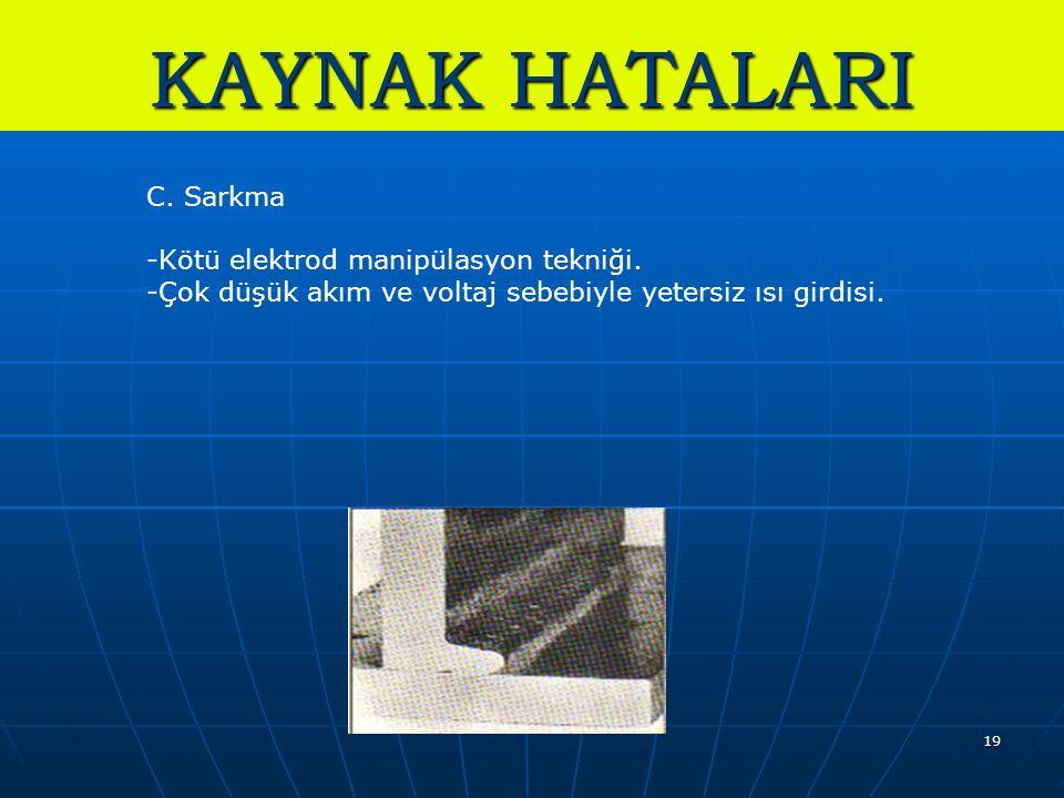 19 KAYNAK HATALARI C. Sarkma -Kötü elektrod manipülasyon tekniği. -Çok düşük akım ve voltaj sebebiyle yetersiz ısı girdisi.