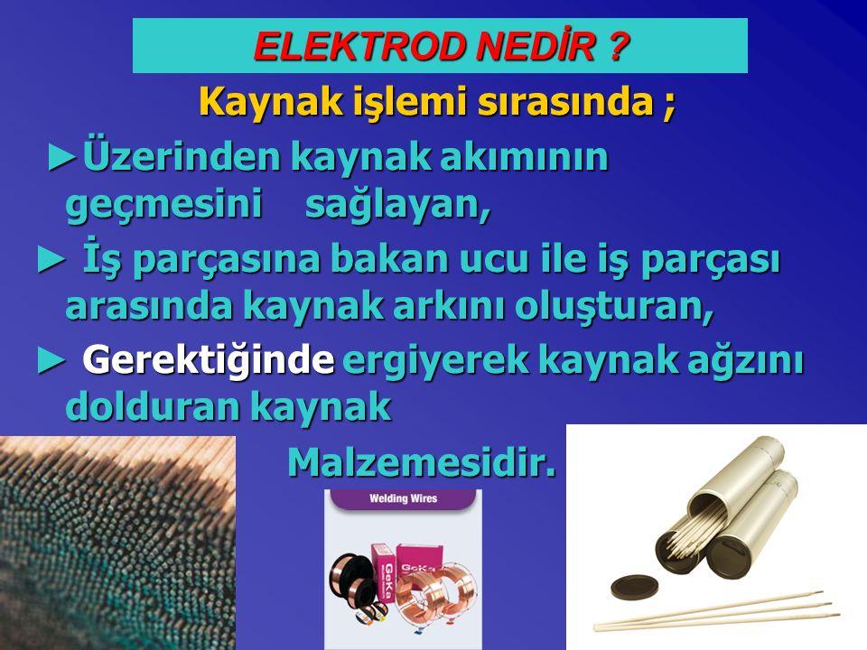 ELEKTRODUN KISIMLARI Çekirdek: * Alaşımsız çelikler * Alaşımlı çelikler * Paslanmaz çelik * Alüminyum alaşımı * Cu-Sn alaşımı gibi malzemeler imal edilir.