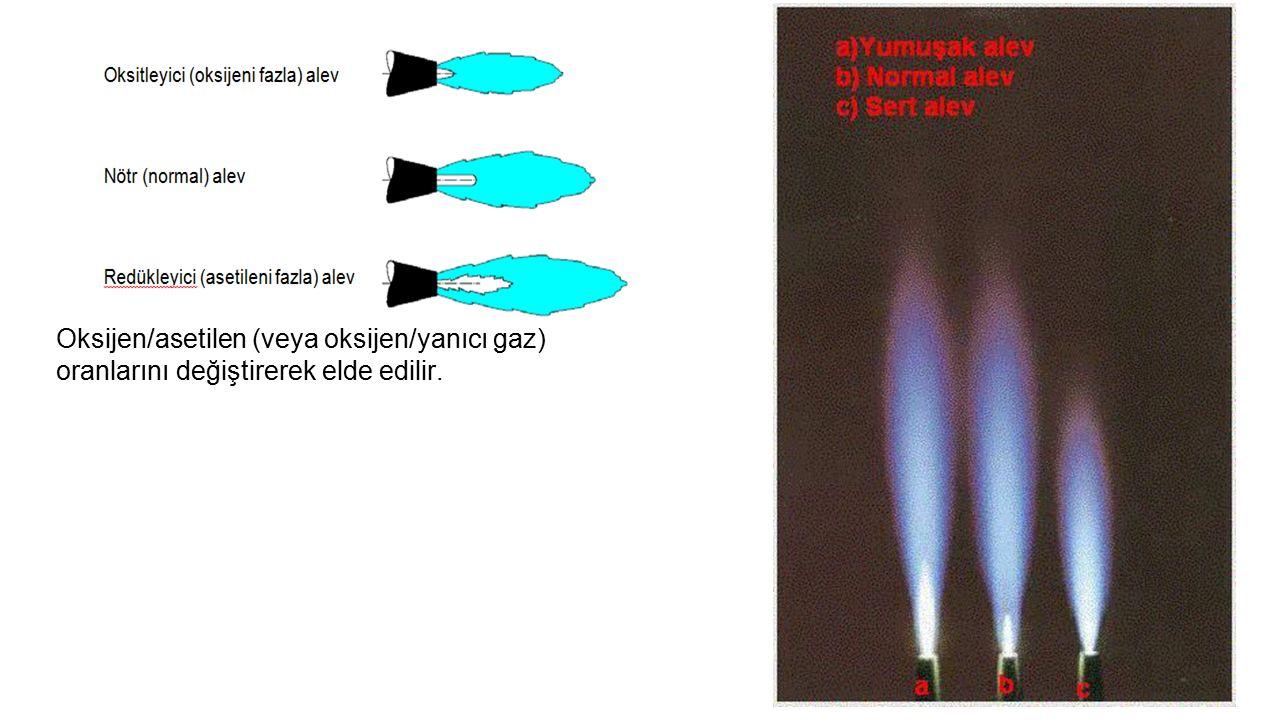 Eğer oran (Oksijen/asetilen) %50-%50 ila 1,15:1 civarında ise tüm yanma reaksiyonlarının tam yanma olarak gerçekleştiği nötr veya normal alev elde edilir.
