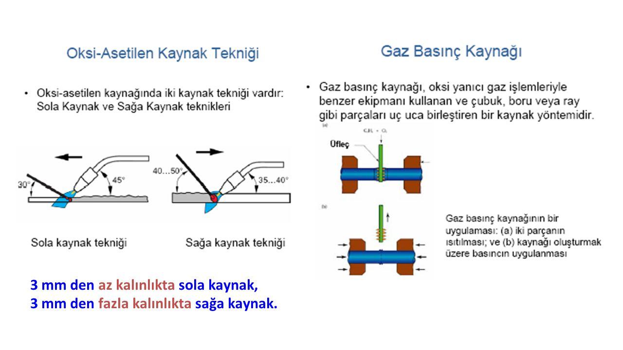 3 mm den az kalınlıkta sola kaynak, 3 mm den fazla kalınlıkta sağa kaynak.