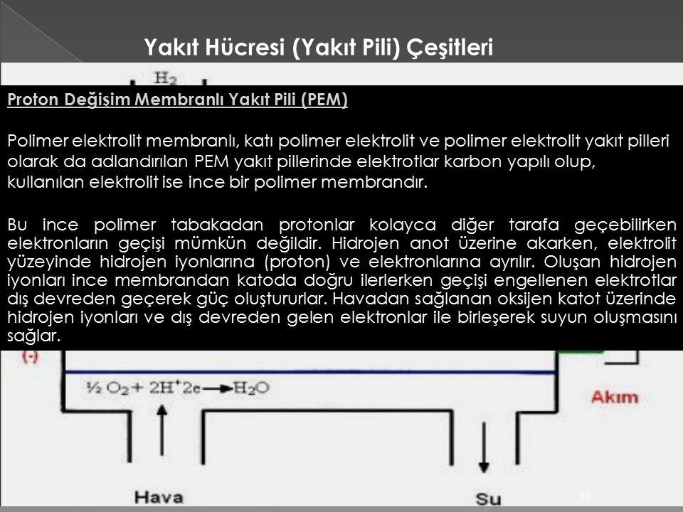19 Proton Değişim Membranlı Yakıt Pili (PEM) Polimer elektrolit membranlı, katı polimer elektrolit ve polimer elektrolit yakıt pilleri olarak da adlandırılan PEM yakıt pillerinde elektrotlar karbon yapılı olup, kullanılan elektrolit ise ince bir polimer membrandır.