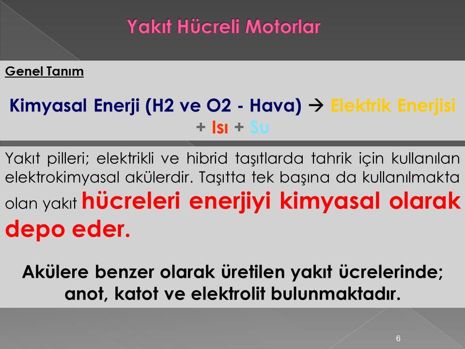 6 Yakıt pilleri; elektrikli ve hibrid taşıtlarda tahrik için kullanılan elektrokimyasal akülerdir.