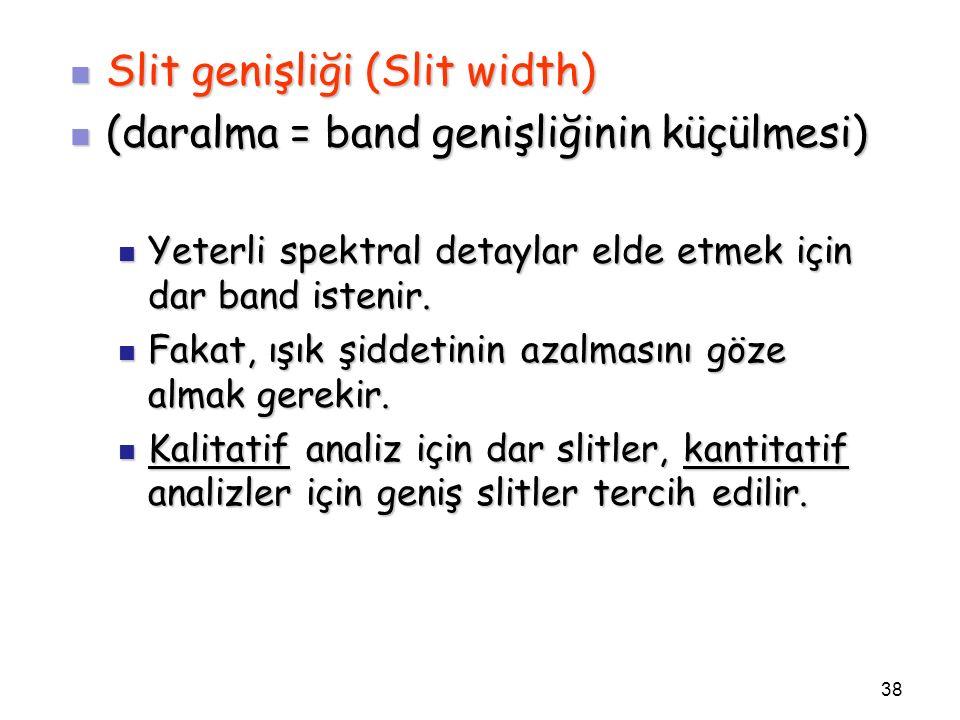 Slit genişliği (Slit width) Slit genişliği (Slit width) (daralma = band genişliğinin küçülmesi) (daralma = band genişliğinin küçülmesi) Yeterli spektr