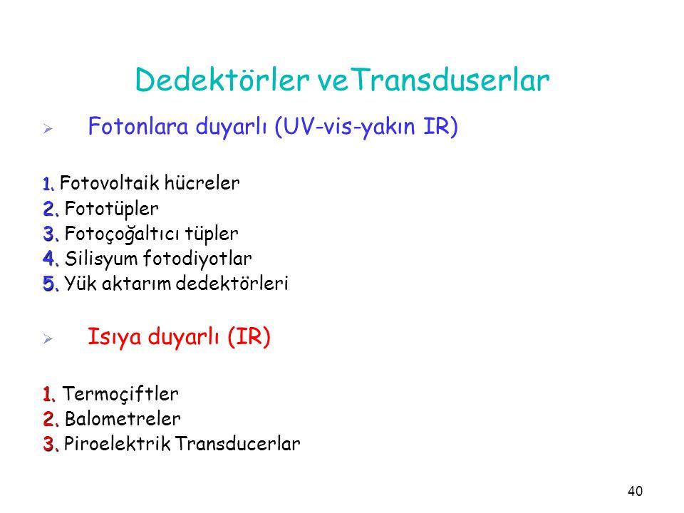 Dedektörler veTransduserlar   Fotonlara duyarlı (UV-vis-yakın IR) 1. Fotovoltaik hücreler 2. Fototüpler 3. Fotoçoğaltıcı tüpler 4. Silisyum fotodiyo