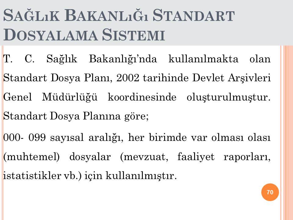 70 S AĞLıK B AKANLıĞı S TANDART D OSYALAMA S ISTEMI T. C. Sağlık Bakanlığı'nda kullanılmakta olan Standart Dosya Planı, 2002 tarihinde Devlet Arşivler