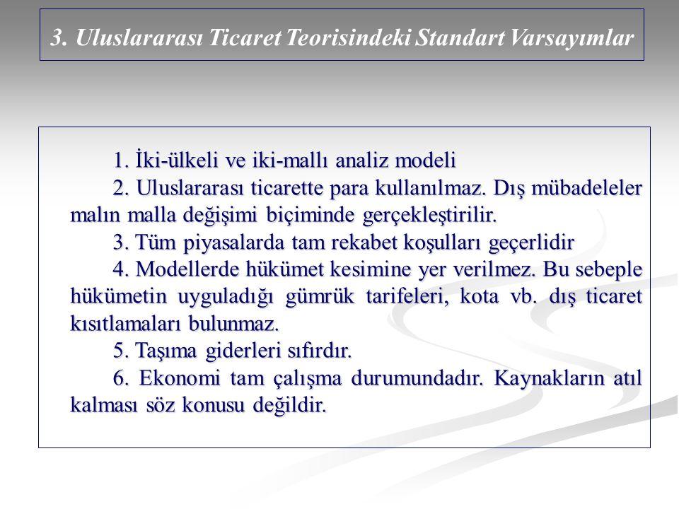 3. Uluslararası Ticaret Teorisindeki Standart Varsayımlar 1. İki-ülkeli ve iki-mallı analiz modeli 2. Uluslararası ticarette para kullanılmaz. Dış müb
