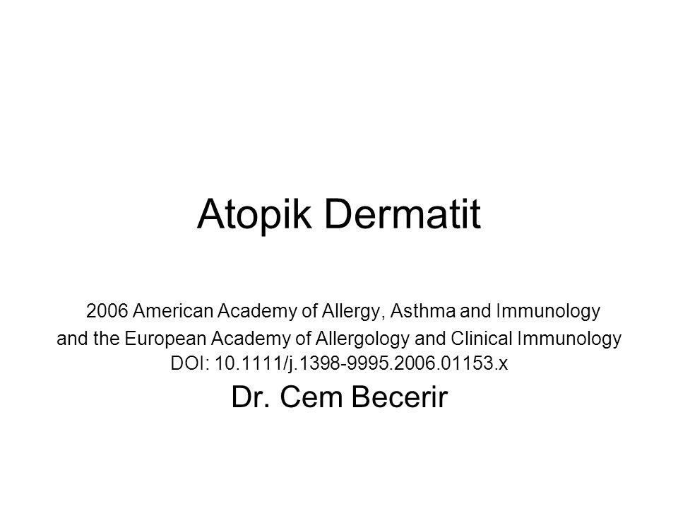 IgE ve IgE reseptörleri % 80 erişkin hastada, Artmış serum IgE düzeyleri (>150 kU/L), aeroallergen ve gıda allergenlerine karşı duyarlılık,ve veya allerjik rinit ve astım birlikteliği mevcuttur % 20 erişkin hastada normal serum IgE düzeyleri, bu subtipi AD genellikle geç dönemde görülmekte (>20 yaş) ve inhaler veya gıda allerjenlerine karşı IgE duyarlılığı gelişmemektedir.