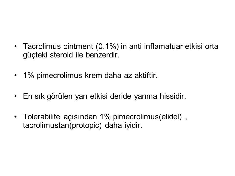 Tacrolimus ointment (0.1%) in anti inflamatuar etkisi orta güçteki steroid ile benzerdir. 1% pimecrolimus krem daha az aktiftir. En sık görülen yan et