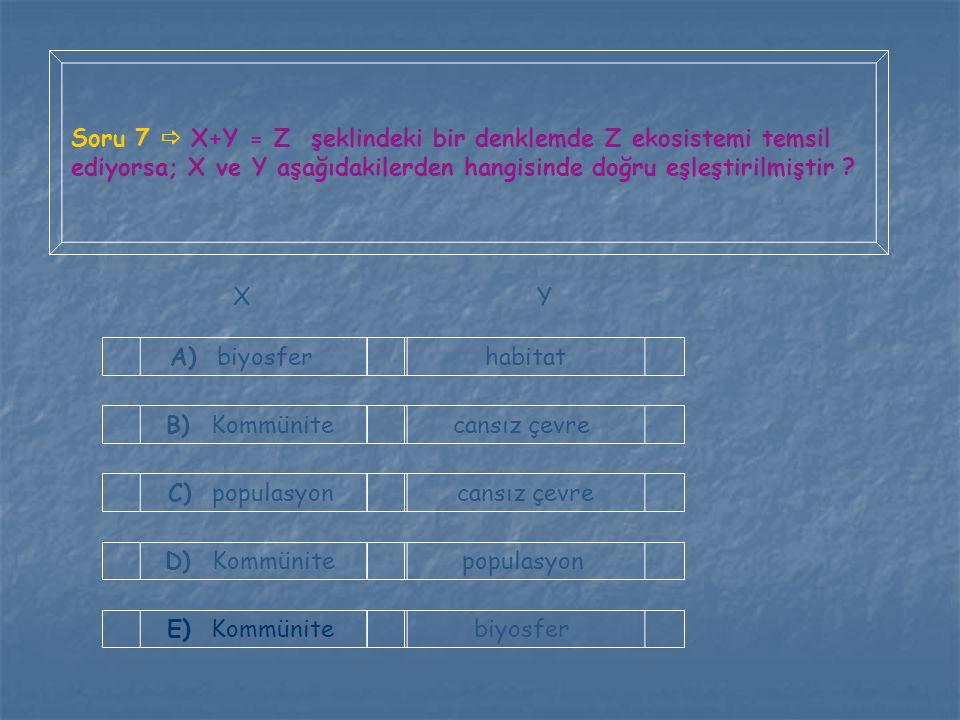 Soru 7  X+Y = Z şeklindeki bir denklemde Z ekosistemi temsil ediyorsa; X ve Y aşağıdakilerden hangisinde doğru eşleştirilmiştir ? A) biyosfer B) Komm