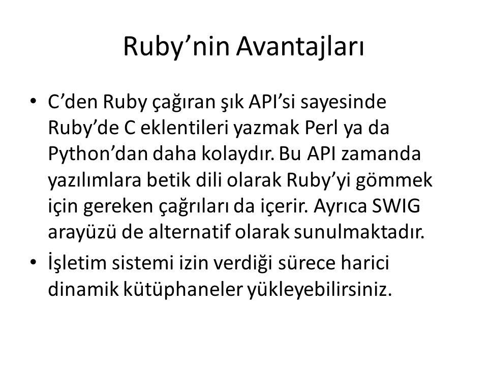 Ruby'nin Avantajları C'den Ruby çağıran şık API'si sayesinde Ruby'de C eklentileri yazmak Perl ya da Python'dan daha kolaydır.