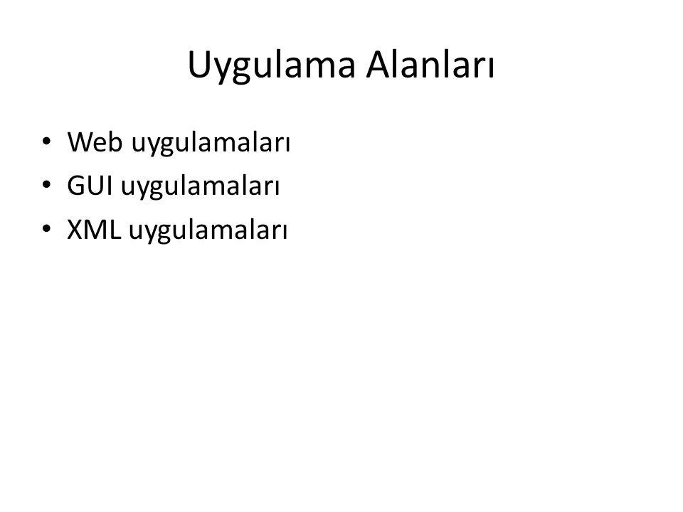 Uygulama Alanları Web uygulamaları GUI uygulamaları XML uygulamaları