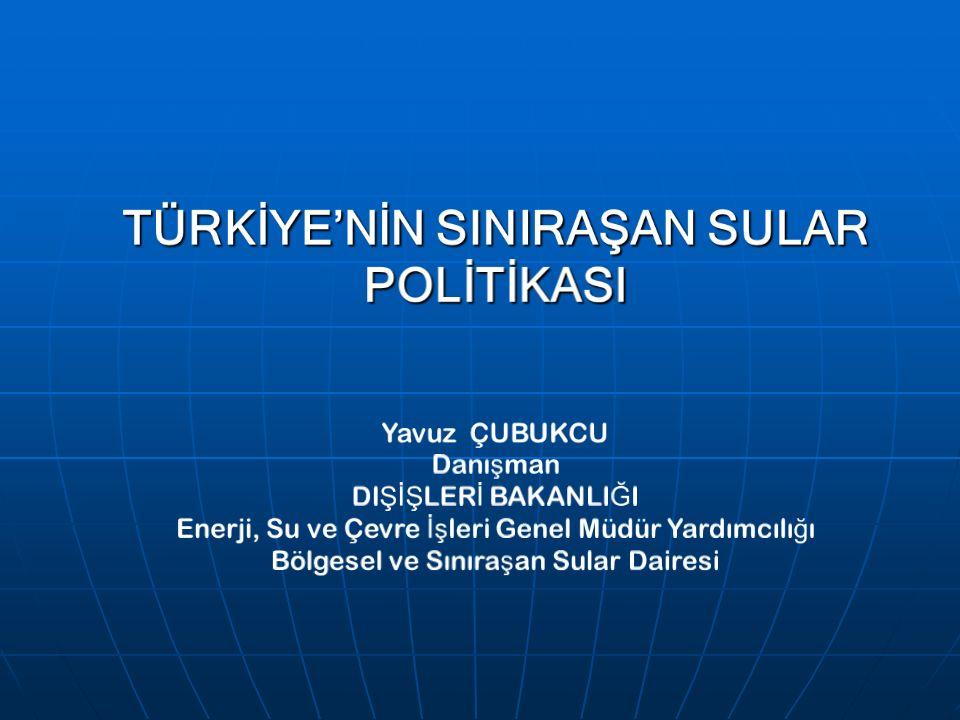 SUR İ YE İ LE İ L İŞ K İ LER Suriye ile İmzalanan 1987 tarihli KEK Protokolü Suriye ile İmzalanan 1987 tarihli KEK Protokolü Su ile ilgili bölüm: Su ile ilgili bölüm: Türkiye, Atatürk Barajı rezervuarının doldurulması sırasında ve Fırat sularının üç ülke arasında nihai tahsisine kadar Türkiye-Suriye sınırından yıllık ortalama 500 m 3 /s den fazla su bırakmayı ve aylık akışın 500 m 3 /s'nin altına düştüğü durumlarda farkın bir sonraki ay kapatılmasını taahhüt etmiştir.