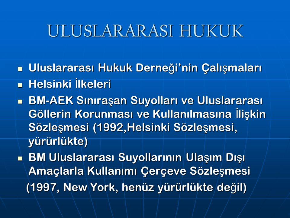 ULUSLARARASI HUKUK Uluslararası Hukuk Derne ğ i'nin Çalı ş maları Uluslararası Hukuk Derne ğ i'nin Çalı ş maları Helsinki İ lkeleri Helsinki İ lkeleri BM-AEK Sınıra ş an Suyolları ve Uluslararası Göllerin Korunması ve Kullanılmasına İ li ş kin Sözle ş mesi (1992,Helsinki Sözle ş mesi, yürürlükte) BM-AEK Sınıra ş an Suyolları ve Uluslararası Göllerin Korunması ve Kullanılmasına İ li ş kin Sözle ş mesi (1992,Helsinki Sözle ş mesi, yürürlükte) BM Uluslararası Suyollarının Ula ş ım Dı ş ı Amaçlarla Kullanımı Çerçeve Sözle ş mesi BM Uluslararası Suyollarının Ula ş ım Dı ş ı Amaçlarla Kullanımı Çerçeve Sözle ş mesi (1997, New York, henüz yürürlükte de ğ il) (1997, New York, henüz yürürlükte de ğ il)
