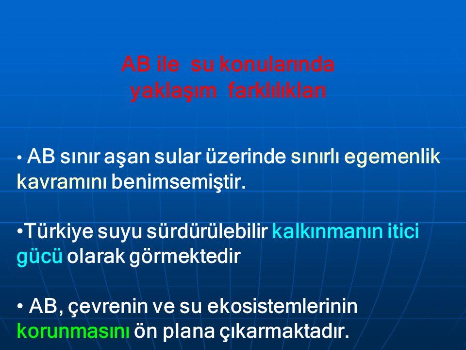 AB ile su konularında yaklaşım farklılıkları AB sınır aşan sular üzerinde sınırlı egemenlik kavramını benimsemiştir. Türkiye suyu sürdürülebilir kalkı