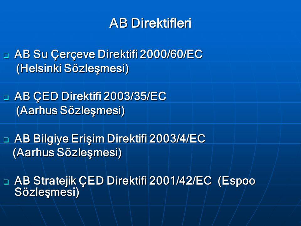 AB Direktifleri  AB Su Çerçeve Direktifi 2000/60/EC (Helsinki Sözleşmesi) (Helsinki Sözleşmesi)  AB ÇED Direktifi 2003/35/EC (Aarhus Sözleşmesi) (Aarhus Sözleşmesi)  AB Bilgiye Erişim Direktifi 2003/4/EC (Aarhus Sözleşmesi) (Aarhus Sözleşmesi)  AB Stratejik ÇED Direktifi 2001/42/EC (Espoo Sözleşmesi)