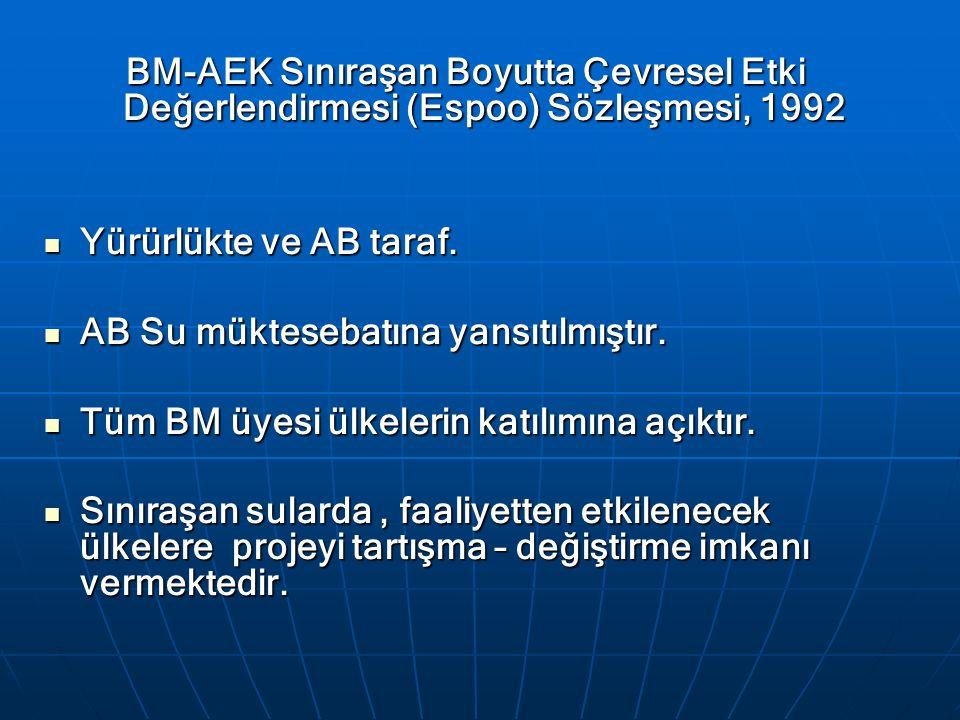 BM-AEK Sınıraşan Boyutta Çevresel Etki Değerlendirmesi (Espoo) Sözleşmesi, 1992 Yürürlükte ve AB taraf. Yürürlükte ve AB taraf. AB Su müktesebatına ya