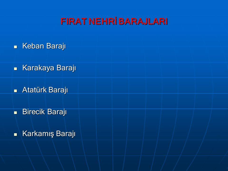 FIRAT NEHRİ BARAJLARI Keban Barajı Keban Barajı Karakaya Barajı Karakaya Barajı Atatürk Barajı Atatürk Barajı Birecik Barajı Birecik Barajı Karkamış B
