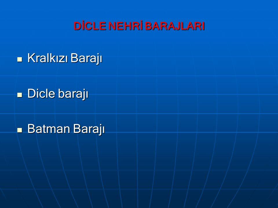 DİCLE NEHRİ BARAJLARI Kralkızı Barajı Kralkızı Barajı Dicle barajı Dicle barajı Batman Barajı Batman Barajı