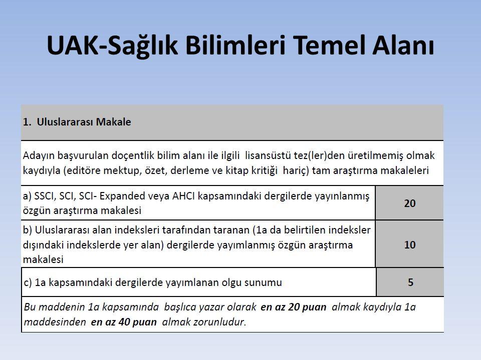 UAK-Sağlık Bilimleri Temel Alanı