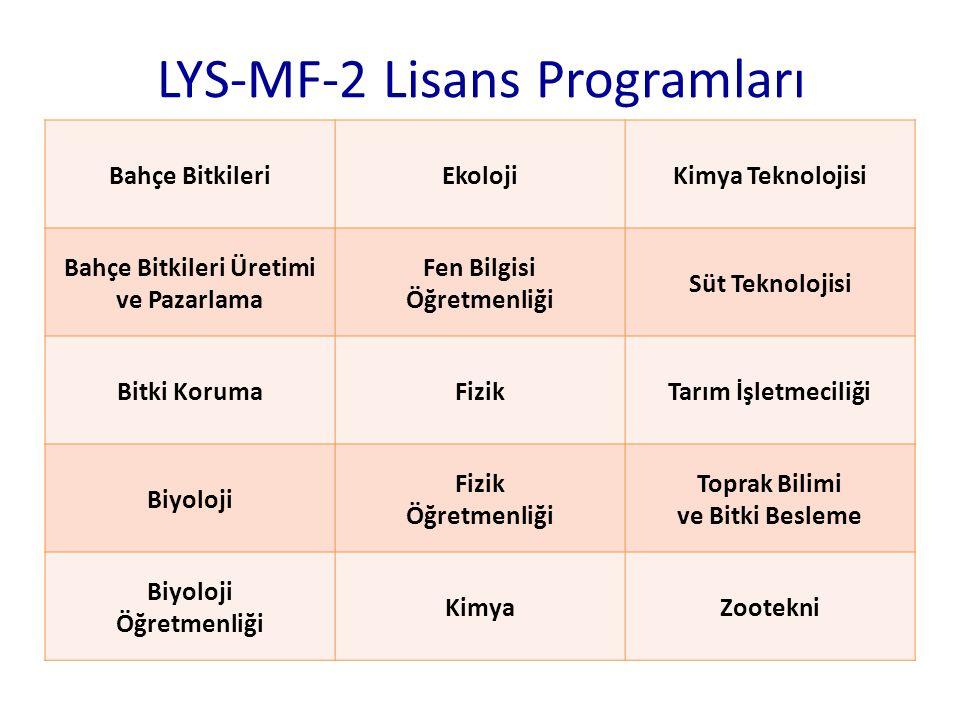 LYS-MF-2 Lisans Programları Bahçe BitkileriEkolojiKimya Teknolojisi Bahçe Bitkileri Üretimi ve Pazarlama Fen Bilgisi Öğretmenliği Süt Teknolojisi Bitk