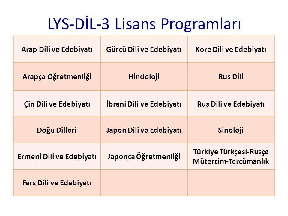 LYS-DİL-3 Lisans Programları Arap Dili ve EdebiyatıGürcü Dili ve EdebiyatıKore Dili ve Edebiyatı Arapça ÖğretmenliğiHindolojiRus Dili Çin Dili ve Edeb