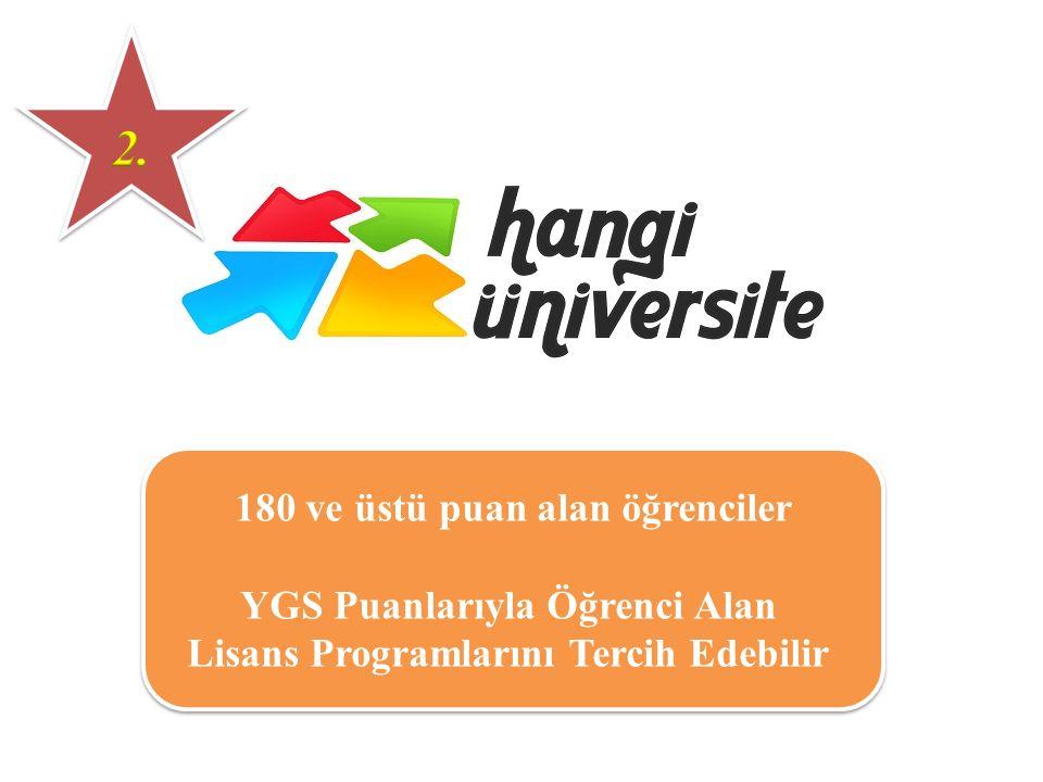 180 ve üstü puan alan öğrenciler YGS Puanlarıyla Öğrenci Alan Lisans Programlarını Tercih Edebilir 180 ve üstü puan alan öğrenciler YGS Puanlarıyla Öğ