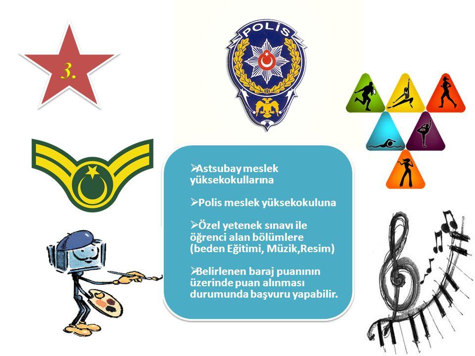 Astsubay meslek yüksekokullarına  Polis meslek yüksekokuluna  Özel yetenek sınavı ile öğrenci alan bölümlere (beden Eğitimi, Müzik,Resim)  Belirl