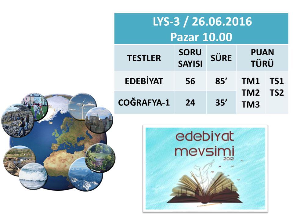 LYS-3 / 26.06.2016 Pazar 10.00 TESTLER SORU SAYISI SÜRE PUAN TÜRÜ EDEBİYAT5685' TM1 TM2 TM3 TS1 TS2 COĞRAFYA-12435'