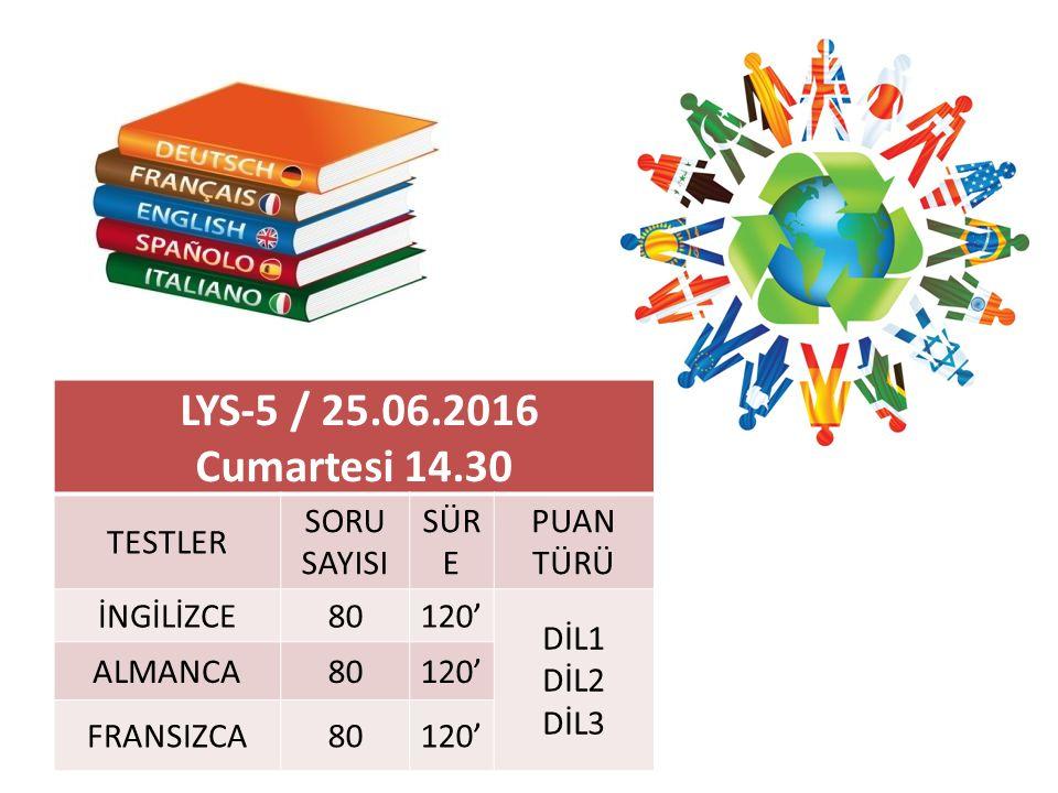 LYS-5 / 25.06.2016 Cumartesi 14.30 TESTLER SORU SAYISI SÜR E PUAN TÜRÜ İNGİLİZCE80120' DİL1 DİL2 DİL3 ALMANCA80120' FRANSIZCA80120'