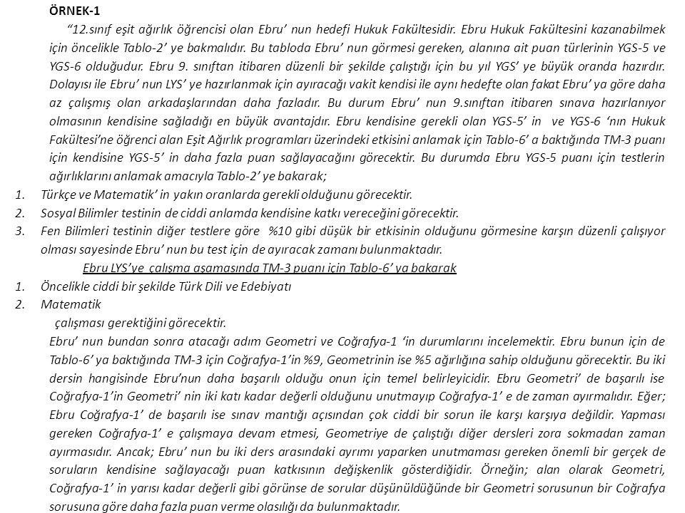 """ÖRNEK-1 """"12.sınıf eşit ağırlık öğrencisi olan Ebru' nun hedefi Hukuk Fakültesidir. Ebru Hukuk Fakültesini kazanabilmek için öncelikle Tablo-2' ye bakm"""