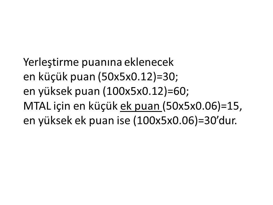 Yerleştirme puanına eklenecek en küçük puan (50x5x0.12)=30; en yüksek puan (100x5x0.12)=60; MTAL için en küçük ek puan (50x5x0.06)=15, en yüksek ek pu
