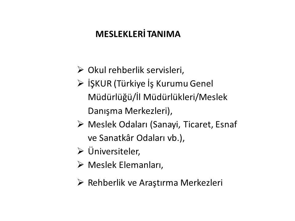 MESLEKLERİ TANIMA  Okul rehberlik servisleri,  İŞKUR (Türkiye İş Kurumu Genel Müdürlüğü/İl Müdürlükleri/Meslek Danışma Merkezleri),  Meslek Odaları