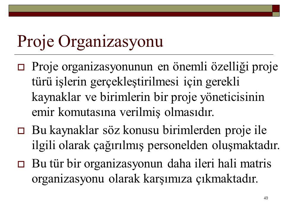 49 Proje Organizasyonu  Proje organizasyonunun en önemli özelliği proje türü işlerin gerçekleştirilmesi için gerekli kaynaklar ve birimlerin bir proje yöneticisinin emir komutasına verilmiş olmasıdır.