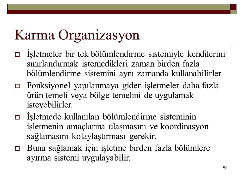 60 Karma Organizasyon  İşletmeler bir tek bölümlendirme sistemiyle kendilerini sınırlandırmak istemedikleri zaman birden fazla bölümlendirme sistemini aynı zamanda kullanabilirler.