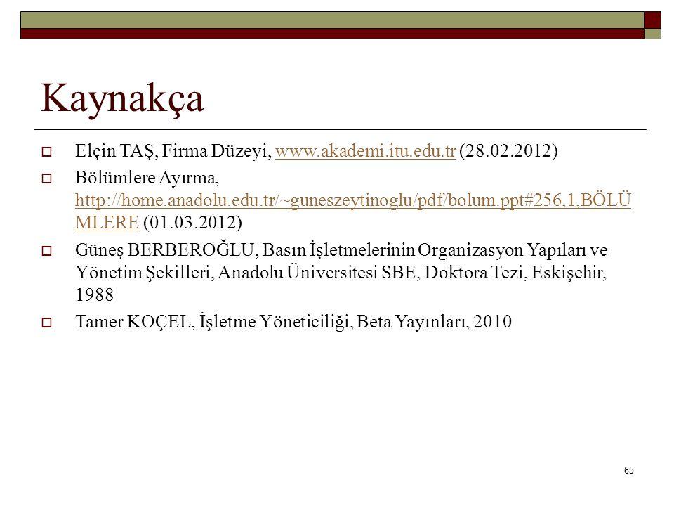 65 Kaynakça  Elçin TAŞ, Firma Düzeyi, www.akademi.itu.edu.tr (28.02.2012)www.akademi.itu.edu.tr  Bölümlere Ayırma, http://home.anadolu.edu.tr/~gunes