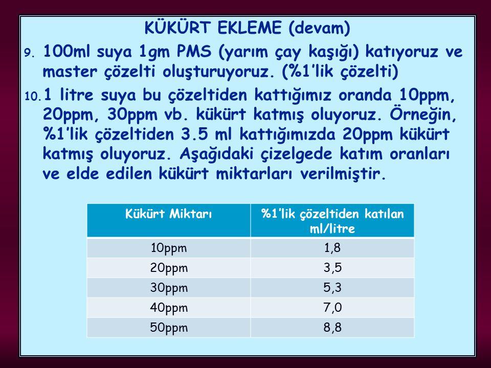 KÜKÜRT EKLEME (devam) 9. 100ml suya 1gm PMS (yarım çay kaşığı) katıyoruz ve master çözelti oluşturuyoruz. (%1'lik çözelti) 10. 1 litre suya bu çözelti