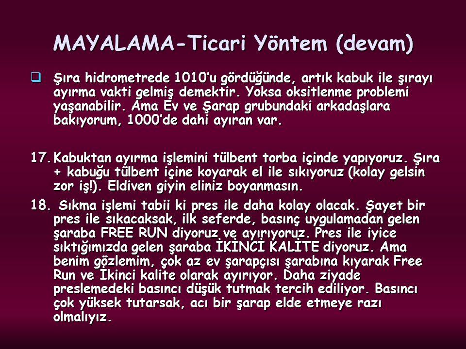 MAYALAMA-Ticari Yöntem (devam)  Şıra hidrometrede 1010'u gördüğünde, artık kabuk ile şırayı ayırma vakti gelmiş demektir. Yoksa oksitlenme problemi y