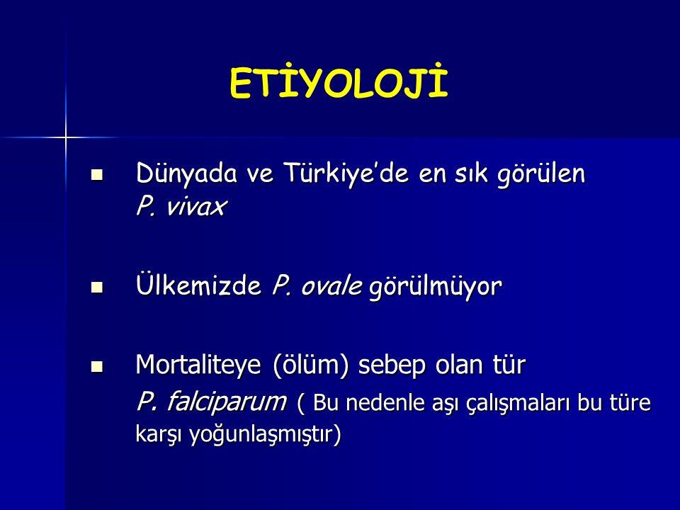 ETİYOLOJİ Dünyada ve Türkiye'de en sık görülen P. vivax Dünyada ve Türkiye'de en sık görülen P. vivax Ülkemizde P. ovale görülmüyor Ülkemizde P. ovale