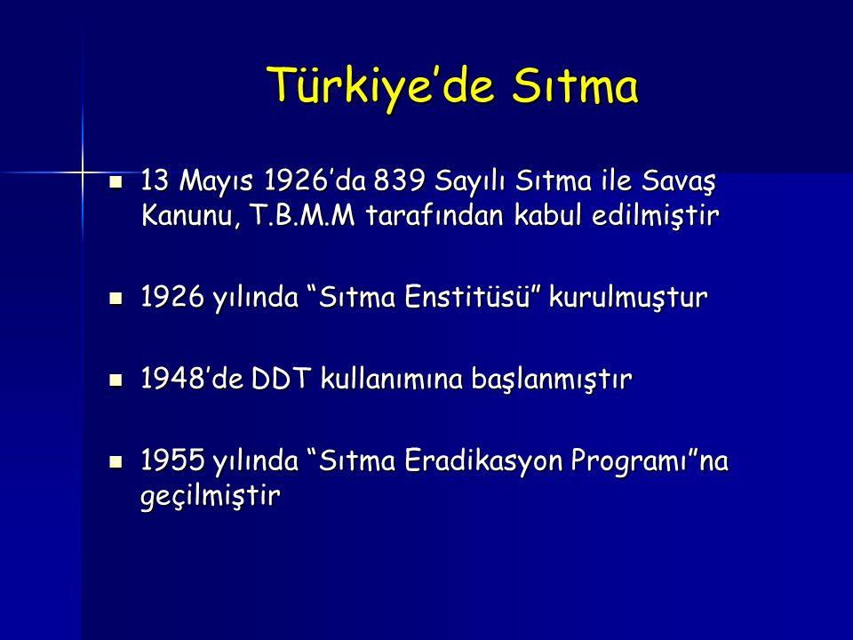 Türkiye'de Sıtma 13 Mayıs 1926'da 839 Sayılı Sıtma ile Savaş Kanunu, T.B.M.M tarafından kabul edilmiştir 13 Mayıs 1926'da 839 Sayılı Sıtma ile Savaş K