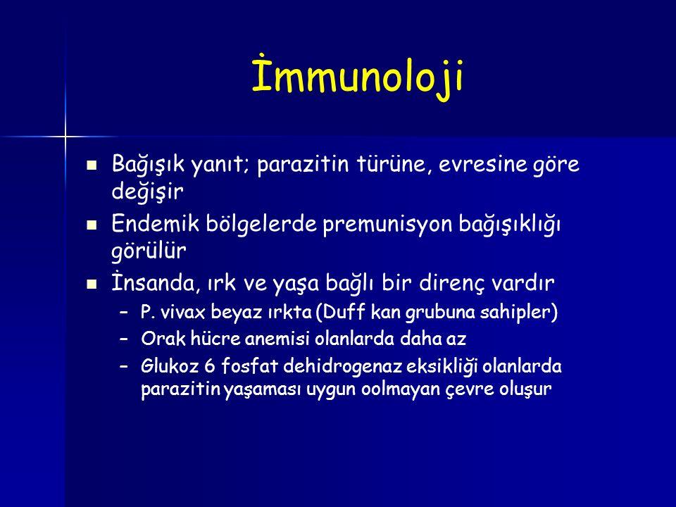 İmmunoloji Bağışık yanıt; parazitin türüne, evresine göre değişir Endemik bölgelerde premunisyon bağışıklığı görülür İnsanda, ırk ve yaşa bağlı bir di