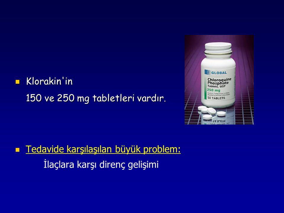 Klorakin'in Klorakin'in 150 ve 250 mg tabletleri vardır. Tedavide karşılaşılan büyük problem: İlaçlara karşı direnç gelişimi
