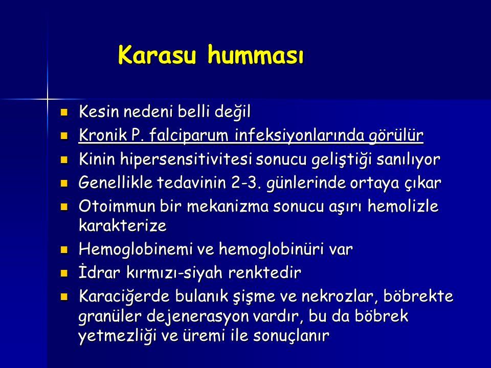 Karasu humması Kesin nedeni belli değil Kesin nedeni belli değil Kronik P. falciparum infeksiyonlarında görülür Kronik P. falciparum infeksiyonlarında