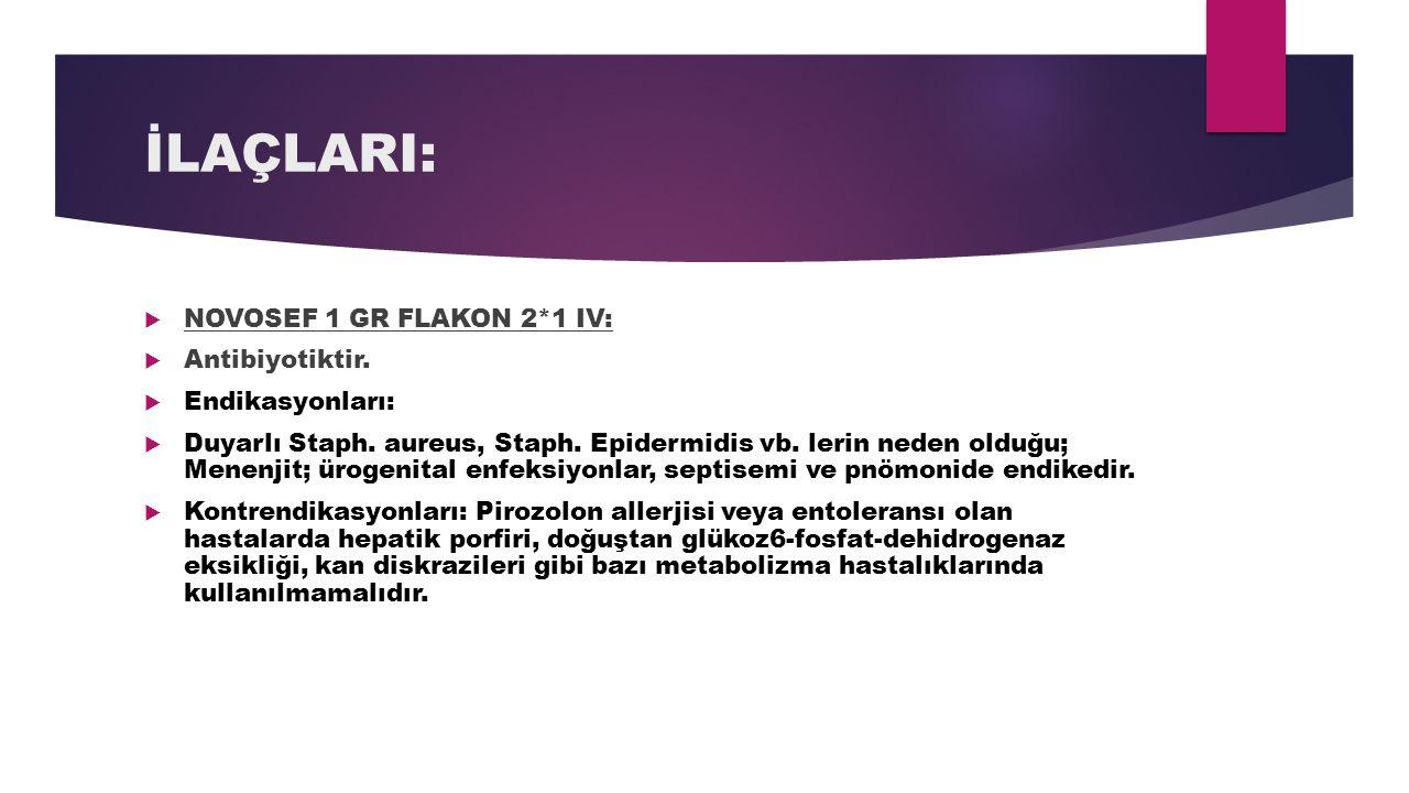 İLAÇLARI:  NOVOSEF 1 GR FLAKON 2*1 IV:  Antibiyotiktir.  Endikasyonları:  Duyarlı Staph. aureus, Staph. Epidermidis vb. lerin neden olduğu; Menenj